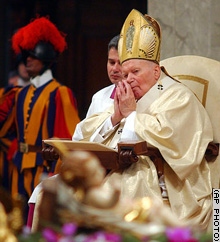 Pope John Paul II presides over a morning Mass in St. Peter's Basilica Thursday, to mark the World Day of Peace.